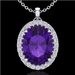 Natural 2.75 CTW Amethyst & Micro Diamond Halo Solitaire Necklace 18K White Gold - 20576-REF#-42W5G