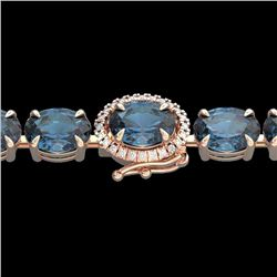 Natural 36 CTW London Blue Topaz & Diamond Tennis Micro Halo Bracelet 14K Rose Gold - 23447-REF#-89A