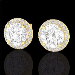 Natural 4 CTW Halo Diamond Certified Micro Pave Earrings Solitaire 18K Yellow Gold - 21490-REF#-1129