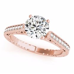 0.40 CTW Certified SI-I Diamond Solitaire Bridal Antique Ring 18K Rose - 27364-#57X5Y