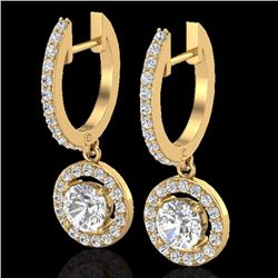 Natural 1.75 CTW Micro Pave Halo Solitaire Diamond Certified Earrings 18K Yellow Gold - 23255-REF#-1