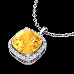 Natural 6 CTW Citrine & Micro Pave Halo Diamond Necklace Solitaire 18K White Gold - 23076-REF#-47Z8R
