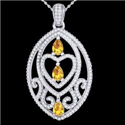 Natural 3.50 CTW Yellow Sapphire & Micro Diamond Heart Necklace IN 18K White Gold - 21300-REF#-141Z7