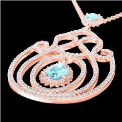 Natural 3.20 CTW Sky Blue Topaz & Micro Diamond Heart Designer Necklace 14K Rose Gold - 22444-REF#-1