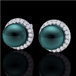 Natural .50 CTW Micro Halo Diamond Certified & Peacock Pearl Earrings 18K White Gold - 21499-REF#-50