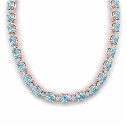 46.50 CTW SKY BLUE TOPAZ & DIAMOND SI-I CERTIFIED ETERNITY TENNIS NECKLACE - 29439-#190A8N
