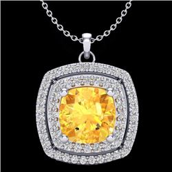 Natural 1.50 CTW Citrine & Micro Pave Diamond Certified Halo Necklace 18K White Gold - 20452-REF#-56