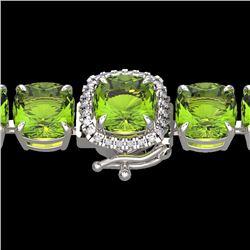 Natural 40 CTW Peridot & Micro Diamond Halo Designer Bracelet 14K White Gold - 23317-REF#-203R4H