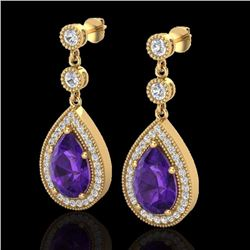 Natural 4.50 CTW Amethyst & Micro Pave Diamond Certified Earrings 18K Yellow Gold - 23111-REF#-57M5F