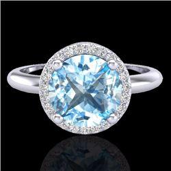 Natural 2.70 CTW Sky Blue Topaz & Micro Diamond Ring Designer Halo 18K White Gold - 23214-REF#-44N8A