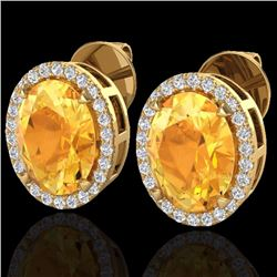 Natural 5.50 CTW Citrine & Micro Diamond Halo Solitaire Earrings Ring 18K Yellow Gold - 20247-REF#-6