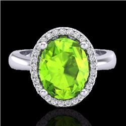 Natural 2.50 CTW Peridot & Micro Pave Diamond Certified Ring Halo 18K White Gold - 21110-REF#-42A2X