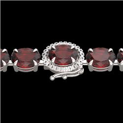 Natural 32 CTW Garnet & Diamond Eternity Tennis Micro Halo Bracelet 14K White Gold - 23425-REF#-83H2