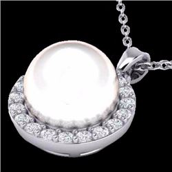 Natural .25 CTW Micro Halo Diamond Certified & White Pearl Necklace 18K White Gold - 21578-REF#-35W2