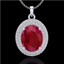 Natural 4.50 CTW Ruby & Micro Pave Diamond Certified Necklace 18K White Gold - 20571-REF#-78Y5Z