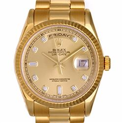 Pre-owned Excellent Condition Authentic Rolex Quickset Men's 18K Yellow Gold Day-Date Champagne Dial