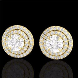 Natural 2 CTW Micro Pave Diamond Certified Stud Earrings Double Halo 18K Yellow Gold - 21471-REF#-16