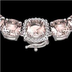 Natural 87 CTW Morganite & Diamond Halo Micro Necklace 14K White Gold - 23352-REF#-1081R2H