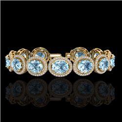 Natural 22 CTW Sky Blue Topaz & Micro Pave Diamond Certified Bracelet 10K Yellow Gold - 22701-REF#-2