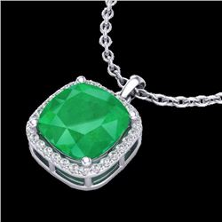 Natural 6 CTW Emerald & Micro Pave Halo Diamond Necklace Solitaire 18K White Gold - 23079-REF#-49Z5R