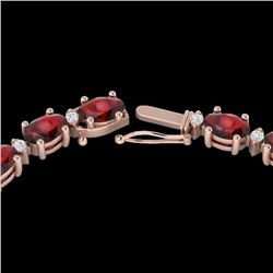 Natural 33 CTW Garnet & Diamond Certified Eternity Tennis Necklace 10K Rose Gold - 21594-REF#-119W8G