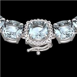 Natural 87 CTW Aquamarine & Diamond Halo Micro Eternity Necklace 14K White Gold - 23336-REF#-533H7M