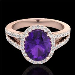Natural 3 CTW Amethyst & Micro Diamond Halo Solitaire Bridal Ring 14K Rose Gold - 20926-REF#-49G8N