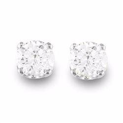 Genuine 0.50 ctw Diamond Solitaire Stud Earrings 14K White Gold - 13529-#33G3R