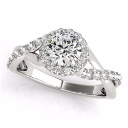 0.60 CTW Certified SI-I Diamond Bridal Solitaire Halo Ring 18K White Gold - 26658-#71W2H
