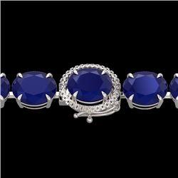 Natural 49 CTW Sapphire & Micro Pave Diamond Halo Bracelet 14K White Gold - 22277-REF#-216T2K