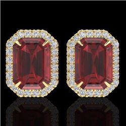 Natural 12 CTW Garnet & Micro Pave Diamond Certified Halo Earrings 18K Yellow Gold - 21228-REF#-67X5