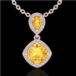 Natural 2.63 CTW Citrine & Micro Diamond Certified Necklace Designer Halo 10K Rose Gold - 20541-REF#