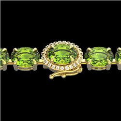 Natural 32 CTW Peridot & Diamond Tennis Micro Pave Halo Bracelet 14K Yellow Gold - 23434-REF#-127T2K
