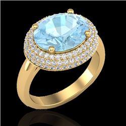 Natural 4 CTW Aquamarine & Micro Pave Diamond Certified Ring 18K Yellow Gold - 20906-REF#-90R8H