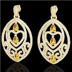 Natural 7 CTW Yellow Sapphire & Micro Pave Diamond Heart Earrings Designer IN 18K Yellow Gold - 2116
