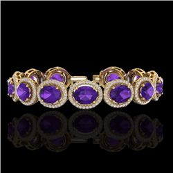 Natural 18 CTW Amethyst & Micro Pave Diamond Certified Bracelet 10K Yellow Gold - 22679-REF#-212X2T