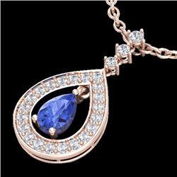 Natural 1.15 CTW Tanzanite & Micro Pave Diamond Necklace Designer 14K Rose Gold - 23173-REF#-56K2W
