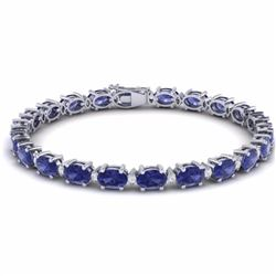 26.30 CTW TANZANITE & DIAMOND SI-I CERTIFIED ETERNITY TENNIS BRACELET - 29463-#443V3R