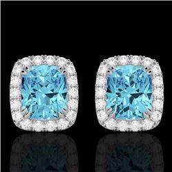 Natural 2.50 CTW Sky Blue Topaz & Micro Diamond Certified Halo Earrings 10K White Gold - 22872-REF#-