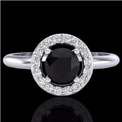Natural .75 CTW Micro Pave Halo Solitaire Diamond Certified Ring 18K White Gold - 23285-REF#-43F5V