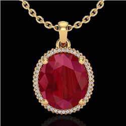 Natural 12 CTW Ruby & Micro Pave Diamond Certified Halo Necklace 18K Yellow Gold - 20615-REF#-96M3F