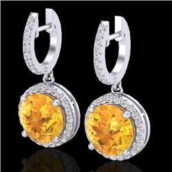 Natural 4 CTW Citrine & Micro Pave Diamond Certified Designer Halo 18K White Gold - 23178-REF#-63A5X