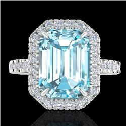 Natural 63 CTW Sky Blue Topaz & Micro Pave Diamond Certified Halo Ring 18K White Gold - 21420-REF#-5
