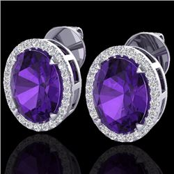 Natural 5.50 CTW Amethyst & Micro Diamond Halo Solitaire Earrings Ring 18K White Gold - 20237-REF#-6