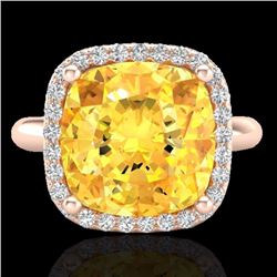 Natural 6 CTW Citrine & Micro Pave Halo Diamond Ring Solitaire 14K Rose Gold - 23095-REF#-45T3K