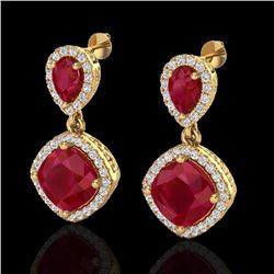 Natural 7 CTW Ruby & Micro Pave Diamond Certified Earrings Designer Halo 10K Yellow Gold - 20208-REF