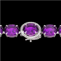Natural 40 CTW Amethyst & Micro Pave Diamond Halo Bracelet 14K White Gold - 22249-REF#-120K8W