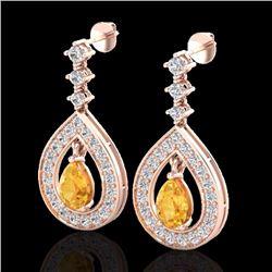 Natural 2.25 CTW Citrine & Micro Pave Diamond Earrings Designer 14K Rose Gold - 23149-REF#-91Y5Z