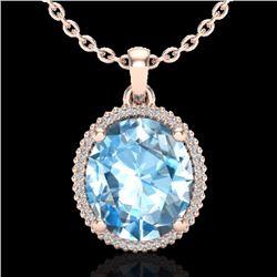 Natural 12 CTW Sky Blue Topaz & Micro Diamond Certified Halo Necklace 14K Rose Gold - 20603-REF#-68V