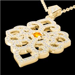 Natural 1.40 CTW Citrine & Micro Pave Diamond Designer Necklace 14K Yellow Gold - 22554-REF#-95Z2R